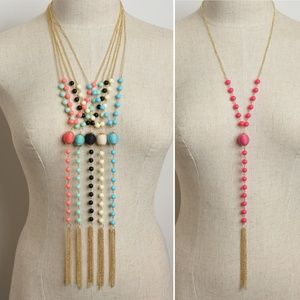 Pearl Tassel Chain Drop Necklaces Assorted Colors
